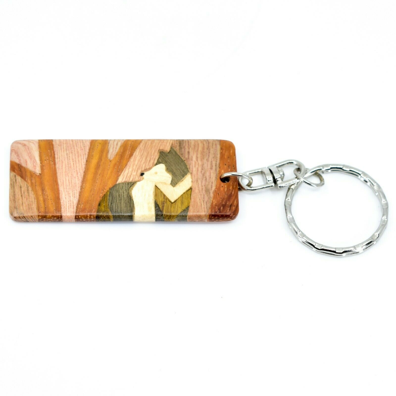 Northwoods Wooden Parquetry Rustic Standing Wolf in Woods Design Tile Keychain