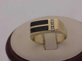 Unisex Estate 14kt YG Black Enamel & Diamonds Ring Vintage, 1950s - $920.43
