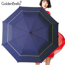 GoldenBrella® Strong Quality Umbrella For Men Double Layer Folding Big Wind - $35.91