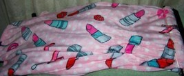 """Sweetheart Cozy Collection Pink with Lips & Lipstick Etc Plush Throw 50""""x60"""" NWT - $17.50"""