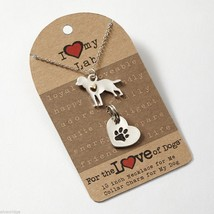 Labrador Retriever Necklace w gold heart w heart charm for your dog's collar SET