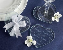 """""""Good Wishes"""" Heart Glass Coasters Set of 12 - $33.61"""