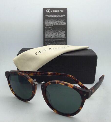F.C.G. VONZIPPER Sunglasses VZ STAX Tortoise & Pewter Frame w/ Grey-Green Lenses