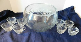 Crystal Happenings Punch Bowl 8 1/2 Quart with 8 Cups and 8 Cup Hooks - $19.75