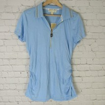 Michael Kors Large Polo Top Womens Light Blue Ruched Golf Shirt MSRP $58 - $55.87
