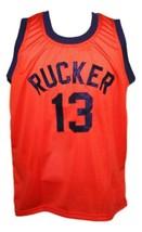 Rucker #13 retro Vintage Basketball Jersey New Sewn Orange Any Size image 3