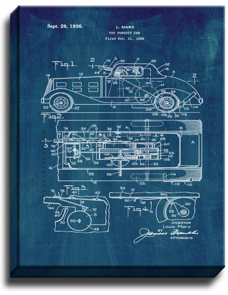 Primary image for Toy Pursuit Car Patent Print Midnight Blue on Canvas