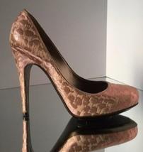 NEW LANVIN Metallic Pink Brocade Woven Platform Pumps (Size 37) - MSRP $985.00! - $299.95