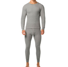Men's Cotton Waffle Knit Thermal Underwear Stretch Shirt & Pants 2pc Set - M