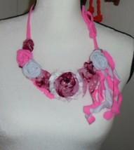 Fabric  Shabby Chic  Necklace Bib,  Handmade Boho Hippie New, Pink Necklace - $18.76