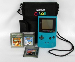 Nintendo Game Boy Color Launch Teal Blue Handheld System 3 Games Carryin... - $42.50