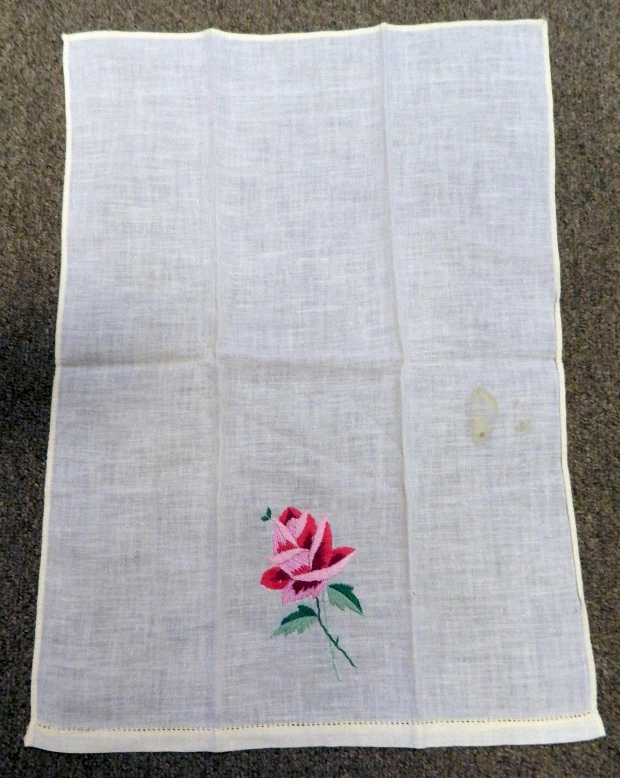 Hand Stitched Guest Bathroom Hand Towel Vintage Yellow Pink Fuschia Floral