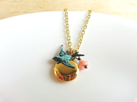 Tiny Gold Locket Patina Sparrow Charm Necklace Czech Glass Baby Bell Flo... - $32.50