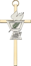 Confirmation Chalice Wall Cross - Silver on Gold - $32.99