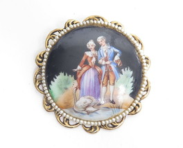 Vintage Attire Victorian Couple Portrait Round Gold Plated Pin Pearl Accent - $17.82