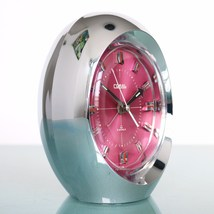 CORAL RHYTHM 1862 Clock Rare PINK Dial Mantel Alarm Chrome Space Age Win... - $269.00