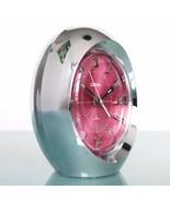 CORAL RHYTHM 1862 Clock Rare PINK Dial Mantel Alarm Chrome Space Age Win... - $269.00