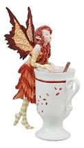 "Ebros Amy Brown Autumn Apple Cider Cinnamon Tea Fairy Statue 6.25""Tall Tea Cup F"