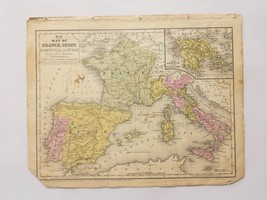 1846 antique MAP of FRANCE SPAIN PORTUGAL ITALY GREECE buchanan MITCHELL... - $28.95
