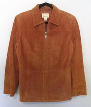 St John's Bay Suede Rust Red Orange Womens Leather Jacket Sz Small Zippe... - €10,77 EUR