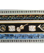 1/2 yd music/blues/jazz/drum/violin/horn quilt fabric - free shipping - $10.99