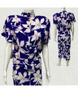 VTG APRIL RAIN Size 8 Purple White Floral Print Short Sleeve Midi Dress ... - $37.62