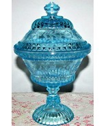 Antique Aqua Blue Adams Glass Wildflower Pattern Covered Compote Pedesta... - $34.65