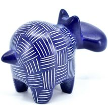 Vaneal Group Hand Crafted Carved Soapstone Dark Blue Hippopotamus Hippo Figurine image 4