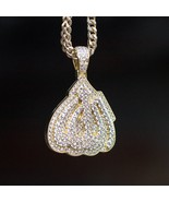 Yellow Gold Lab Diamond Fully Iced Out Allah Pendant & Franco Chain - $36.54