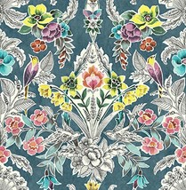NuWallpaper NU3037 Summer Love Teal Peel & Stick, Multi-Color Wallpaper, Multico