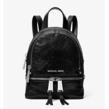 1c6349dc2f35 NWT Michael Kors Rhea Mini Python-Embossed Leather Backpack Black -  150.00