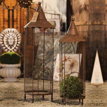 Set/ 2 Copper Iron Nested Decorative Bird Cages Centerpieces-Weddings,14... - $225.72