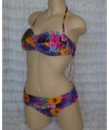 NANETTE LEPORE Floral Bikini Pink Purple Swimsuit Top Bottom Extra Small... - $70.00
