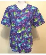 Princess Frog Scrub Top Womens Short Sleeved Novelty Cartoon Scrubs Size... - $19.79