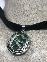 Vintage Jade White Bronze Silver Pendant Necklace Choker Pendant - $51.48
