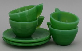 Vintage Akro Agate Toy Dishes Jadeite Concentric Ring 4 Cups 2 Saucers image 1