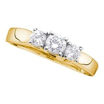 14kt Yellow Gold Round Diamond 3-stone Bridal Wedding Engagement Ring 1/4 Ctw - £253.85 GBP