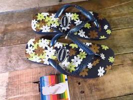 HAVAIANAS Flip Flop Shoes Sandals FLORAL Design Blue NEW Size USA 4/5 Eu... - $19.79