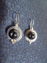 Beautiful Sterling Silver Onyx Drop Medallion & Bead Earrings Indonesia ... - $19.60