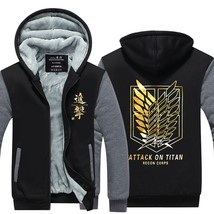 2018 New Attack on Titan Winter Jackets Hoodie Anime Luminous Hooded Thick Zippe - $51.00