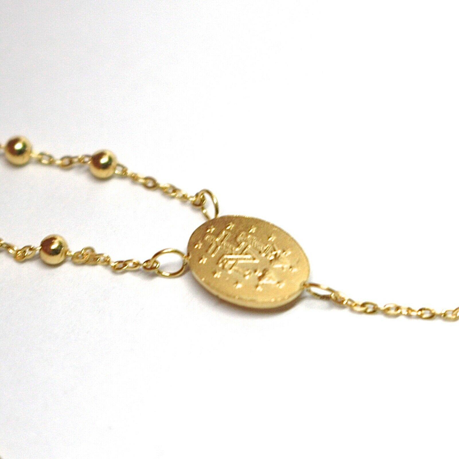 Mini Collar Rosario Oro Amarillo 750 18K, Medalla Milagrosa, Cruz, 48 CM image 4