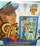 Disney Toy Story 4 Toys Play Buzz Lightyear and Woody Plush Blanket - $28.99