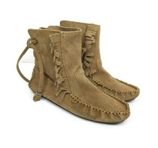 J Crew Womens 6 Sienna Fringed Tan Brown Leather Ankle Moccasin Boots Shoes - $42.56