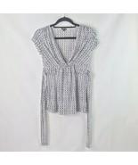 Maurices Women's S Cap Sleeve V Neck Empire Tie Waist Black & White Top ... - $15.76