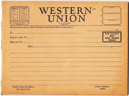 Unused W.W.II WESTERN UNION Telegrams,Pad of 25 Forms,BUY WAR BONDS TODAY - $34.65