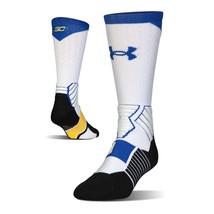 UNDER ARMOUR SC30 Drive Basketball Crew Socks Large (9-12.5) White Blue ... - $19.99