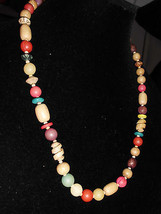 VTG Faux Wooden and Celluloid Plastic Gold Tone Beaded Necklace Choker - $19.80