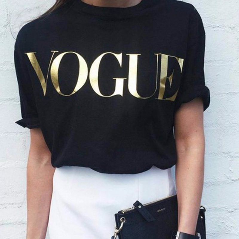 2018 New Fashion Brand Summer T Shirt Women VOGUE Printed T-shirt Women Tops Tee