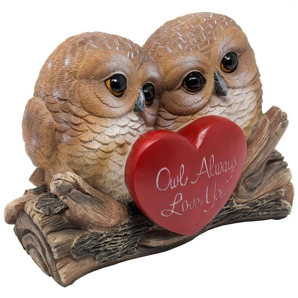 SPECIAL Statue of 2 Owl in Love Figurines Birthday Romantic Gift Home Decoration