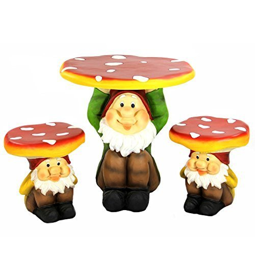 Four Seasons Home 3-Piece Jolly Gnome Table and Chair Novelty Garden Furniture S